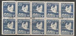 SWEDEN - 1942-53 - POSTE AERIENNE - FAUNA - BIRDS  - Carnet  De 200k  Yvert # C7a (II)  - USED