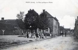 PRUSY - LA PLACE PUBLIQUE ET L'ECOLE - TRES BELLE ANIMATION AVEC UNE RONDE D'ENFANTS -  TOP !!! - France
