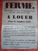 AFFICHE NOTARIALE A LOUER FERME EN 1827  TERRITOIRE DE NOSAY ARRONDISSEMENT D´ ARCIS - Documenti Storici