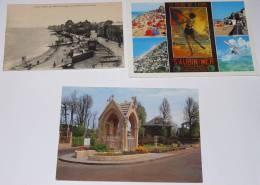 SAINT AUBIN SUR MER - CPA + CPM 14 - Vue Générale De La Digue;Chapelle Au Rond Point Du Calvaire;Multivues. - Saint Aubin
