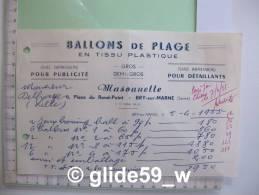 BALLONS DE PLAGE En Tissu Plastique - Masounette - BRY-sur-MARNE Le 5 Avril 1955 - Altri