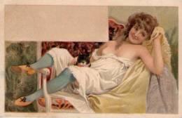 Cartolina Glamour Erotica Illustrata Romantica Primi'900 - Vintage Romance < 1960