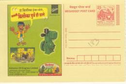 Kirloskar Oil Engines, Agriculture Tractor, Plant,  Comic, Cartoon, Meghdoot Postcard - Aardolie