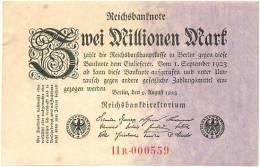 2 Millionen Mark 1923, Reichsbanknote, Geldschein Banknote - 2 Millionen Mark