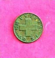 SWITZERLAND 1951, Circulated Coin XF, 2 Rappen, Bronze Km 47, C90.019 - Zwitserland