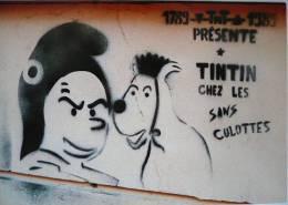 CP / Pastiche : TINTIN CHEZ LES SANS-CULOTTES / 1990 /  TBE /  TBE ! - Bandes Dessinées