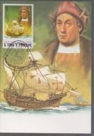 Columbus Voyage To America, Santa Maria Ship, Explorer  History  Maxim Card Sao Tome - Christopher Columbus