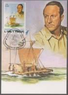 Thor Heyerdahl, Norwegian Ethnographer Kon-tiki Ship, Ethnography Explorer, Navigation Flag  Maxim Card Sao Tome - Explorers