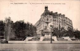 75 TOUT PARIS LA PLACE DAUMESNIL LA FONTAINE ET LES IMMEUBLES NEUFS CIRCULEE 1933 - Piazze