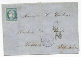 """- Lettre - VOSGES - BRUYERES-EN-VOSGES GC.661 S/TP N°60 + Càd T.16 + Taxe Allemande à """"2"""" En Bleu - 1872 - 1871-1875 Ceres"""