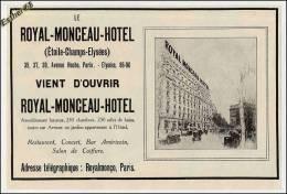 Publicité De 1925 Sur Le ROYAL MONCEAU HOTEL à Paris - Publicidad
