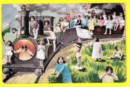* Bébés Multiples - Babies - Baby (Fantaisie - Fantasy) * (serie 319) Train, Trein, Locomotive, Chemin De Fer, CPA, Old - Bébés