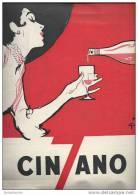 Publicité 1953 Cinzano Apéritif / Femme, élégante, Verre, Alcool / Dessin Signé Gruau - Alcools