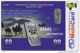 Mongolia, Mon-022, Mms, MobiCard, Camels, (plastic), 2 Scans. - Mongolië
