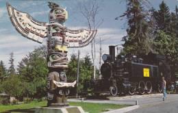 Kwakiuti Bear Pole,1908 Baldwin Saddle-Tank,Comox Logging & Rly. Co. Courtenay, Vancouver Island,  B.C.,  Canada, 40-60s - Vancouver