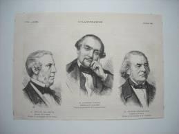GRAVURE 1881. M. DROUYN LE LHUYS. M. ADOLPHE JOANNE. M. EUGENE CORTAMBERT. - Estampes & Gravures