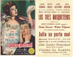 LOCANDINA PUBBLICITARIA CINEMA SPAGNA- FILM  JULIA SE PORTA MAL- ATTORI-CINEMA- G.GARSON & PIDGEON - Plakate & Poster