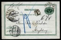 A1599) Schweden Sweden Sverige Karte Mit Vordruck Von Oscarshamn 10.12.1894 Nach Magdeburg / Germany - Ganzsachen