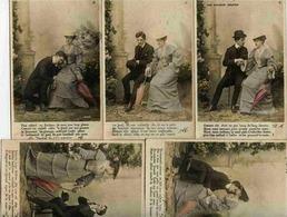 Série Complète 5 Cartes Couleur Les Heures Douces - AMOUREUX - Précurseur (dos 1900) - Couples