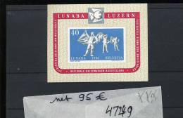 LUNABA Luzern 1951  Bloc **  SANS Charnière - Blocks & Sheetlets & Panes