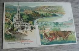 65     -     LOURDES PUBLICITE FAUCHEUSE L'HIRONDELLE USINES AMOUROUX TOULOUSE  @  CPA  VUE RECTO/VERSO AVEC BORDS - Lourdes