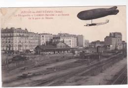 """Très Rare CPA 92 - BECON LES BRUYERES - Le Dirigeable """" Clément - Bayard """" Au Dessus De La Gare De Bécon - France"""