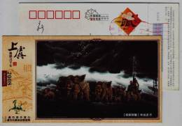 Sculpture,chinese Legend,Shun Emperor Drive Elephant Cultivating Land,CN08 Shangyu New Year Greeting Pre-stamped Card - Elephants