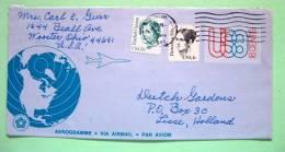 USA 1985 Aerogramme Canton To Holland - Plane Earth Globe - Revolution Bicentennial - Women - Rachel Carson Dorothea Dix - Etats-Unis