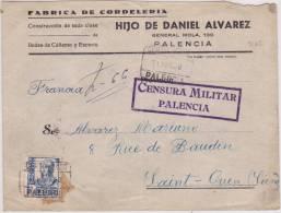 9163# PALENCIA 1938 CERTIFICADO CENSURA MILITAR PALENCIA => ST OUEN SEINE FRANCIA Via IRUN - Marcas De Censura Nacional