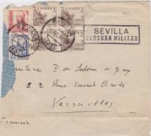 9165# SEVILLA 1937 CENSURA MILITAR - SELLOS PRO SEVILLA => FRANCIA VERSAILLES - Marcas De Censura Nacional