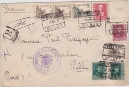 9169# BILBAO CERTIFICA 1939 CENSURA MILITAR DE CORREOS BILBAO 1 SELLOS FALTA => FRANCIA LILLE NORD CIVIL WAR - Marcas De Censura Nacional