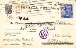 9170# MADRID 1945 CENSURA MILITAR + CENSURA  FRANCES => FRANCIA BORDEAUX GIRONDE CENSURE FRANCAISE CIVIL WAR - Marcas De Censura Nacional