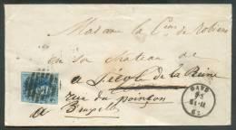 N°11 - Médaillon 20 Centimes Bleu, Un Peu Touché En Bas à Droite Sinon Margé Et 3 Voisins, Obl; 8 Barres P.45 S/envelopp - 1858-1862 Medallions (9/12)