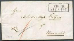 LAC De TRIER (griffe Encadrée) Le 2/2 1855 - 8586 - Vorphilatelie