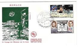 MONACO --     FDC --4 /  5/ 1970   1er VOYAGE DE L'HOMME SUR LA LUNE - Monaco
