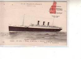 Fantaisie - Cie Gle TRANSATLANTIQUE - FRENCH LINE Paquebot PARIS - Longueur : 235 Mètres - LL - Morceau Flamme Postale - Paquebots