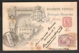 Portugal Madeira 1898 Da Gama 10r PSC With 10r Additional Stamp To Germany - Enteros Postales