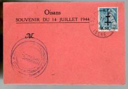 France Oisans Souvenir Du 14 Juillet 1944 / Tp Mercure 549 Surchargé FFI - Guerre Libération Croix De Lorraine - Cachets Commémoratifs