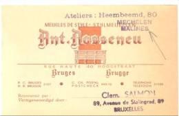 Carte De Visite  Meubelen Ant. Rosseneu BRUGGE - BRUGES - Cartes De Visite