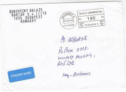 2009 HUNGARY Air Mail COVER Printed LABEL Stamps - Hungary