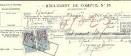 GIVET CUESMES  Chemin De Fer De L'Etat Belge  Reglement De Compte N° 25 + Timbres  30.04.1923 - Belgique
