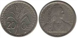 N1367 - Indochine: 20 Centimes 1939, Tranche Rainurée (Rare) - Colonies