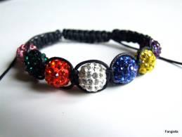 Bracelet Shamballa Multicolore Strass En Cristal Sur Coton Ciré Noir  Les Perles Font Environ 10mm De Diamètre.  Pour To - Bracciali
