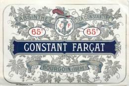 Etiquette Bouteille Ref 001. Absinthe - La Constantine - Bourgoin Isère - Spirits