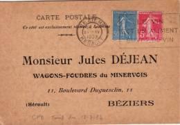 HERAULT-BEZIERS 21-4-1938 AFFRANCHISSEMENT A 55c/CARTE POSTALE PRIVEE JULES DEJEAN WAGONS-FOUDRES DU MINERVOIS 11 BD DUG - 1877-1920: Periodo Semi Moderno