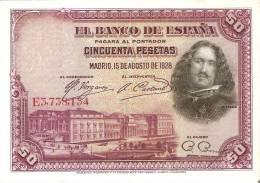 BILLETE DE ESPAÑA DE 50 PTAS DEL AÑO 1928 SERIE E CALIDAD MBC (BANKNOTE) - [ 1] …-1931 : Primeros Billetes (Banco De España)