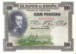 BILLETE DE ESPAÑA DE 100 PTAS DEL AÑO 1925 SERIE E  CALIDAD EBC - 100 Pesetas