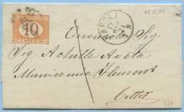 1874 SEGNATASSE C. 10 (SASONE 6 E. 60) ISOLATO PIEGO COMPLETO 17.3.74 TARIFFA TASSA A CARICO X CITTÀ OTTIMA QUALITÀ (M57 - Segnatasse