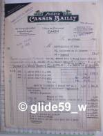Facture Société Cassis BAILLY - Cassis De Dijon - Guignolet - DIJON Le 24 Octobre 1967 - Levensmiddelen