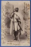 Marokko, Rebell Mit Säbel Und Gewehr; Maroc, Marocaine Insurge; Gelaufen 1907, Seltene Originalkarte - Marokko
